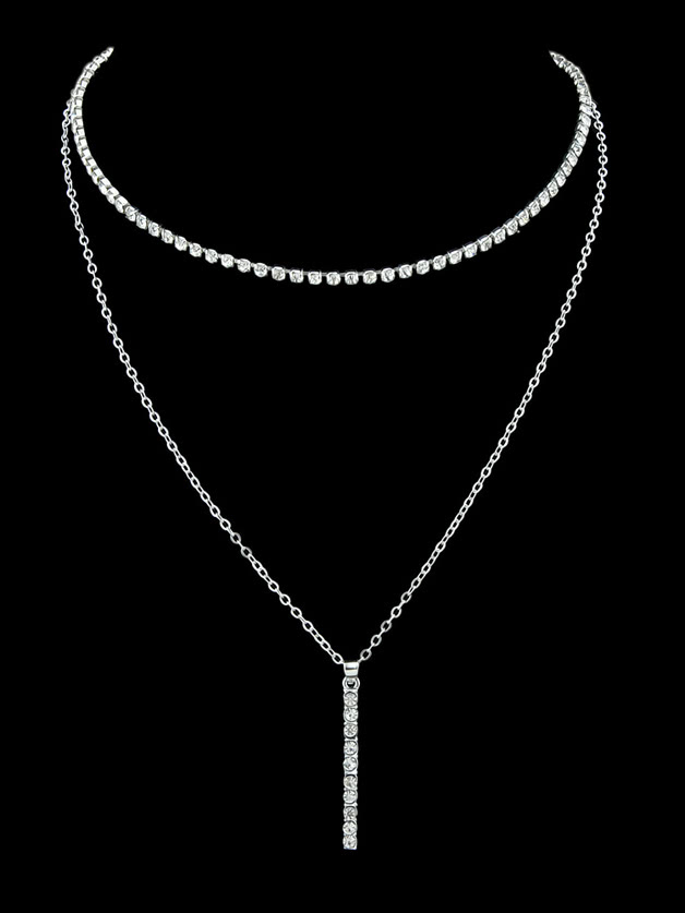 Silver Simple Pendant Multi-Layer Necklace все цены