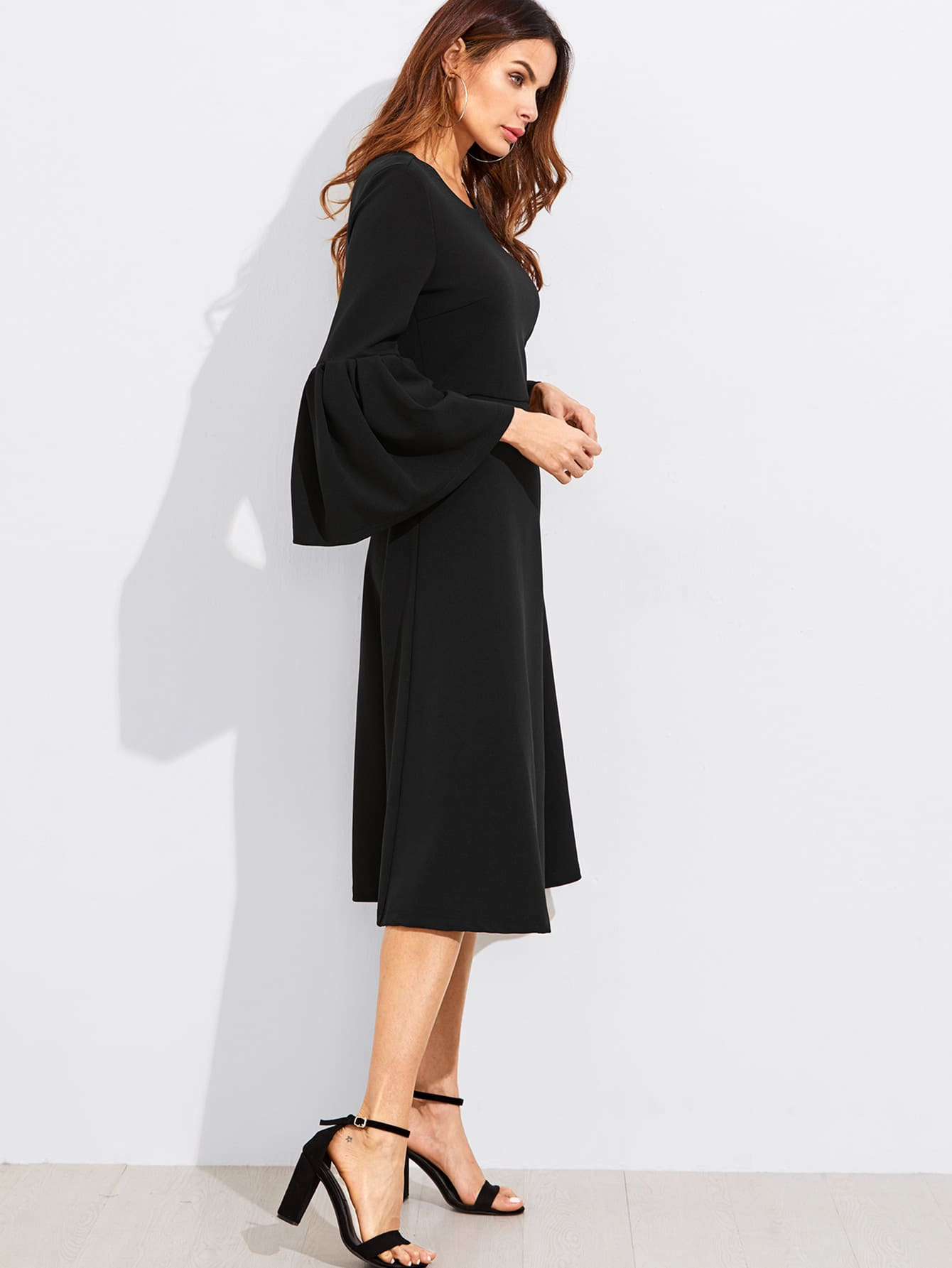 Exaggerate Bell Sleeve Fit & Flare Dress exaggerate bell sleeve buttoned keyhole dress