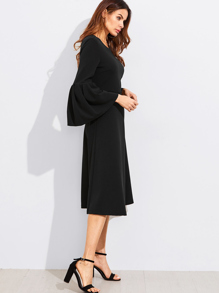 Exaggerate Bell Sleeve Fit & Flare Dress