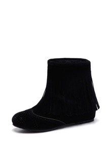 Fringe Side Round Toe Ankle Boots