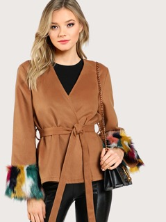 Contrast Faux Fur Cuff Self Belted Blazer