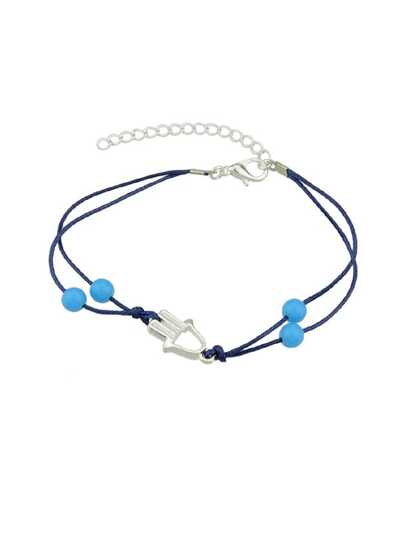 Silver Blue Beads And Hand Shape Arm Bracelets
