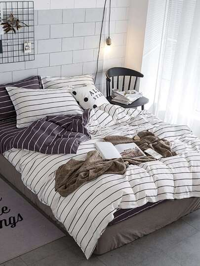 2.2m 4Pcs Pencil Striped Duvet Cover Set