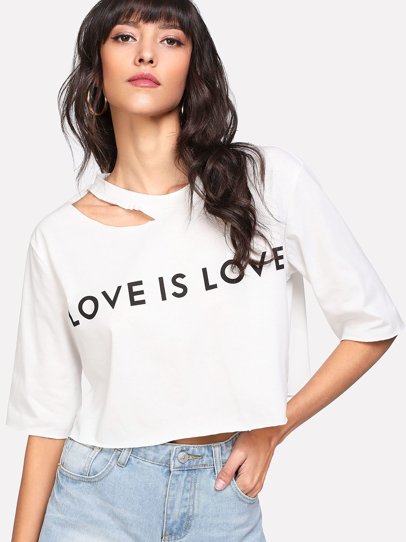 Letter Print Asymmetric Cutout Neck T-shirt grey eyelashes and letter print t shirt