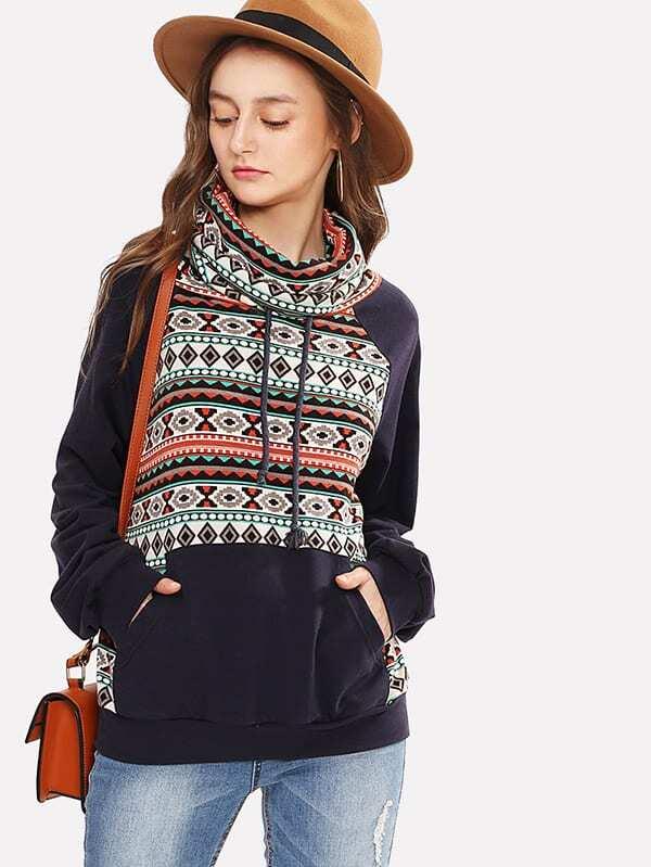 Cowl Neck Tribal Print Sweatshirt lisa corti сандалии