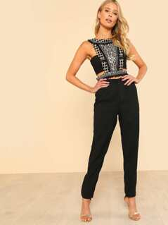 Sequined Sleeveless Crop Top & Matching Pants BLACK