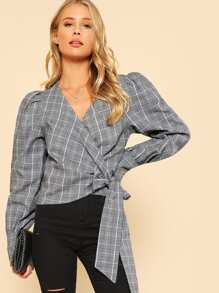 Puff Sleeve Surplice Wrap Top