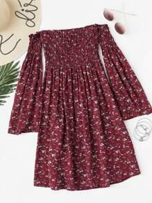 Off Shoulder Bell Sleeve Calico Print Dress