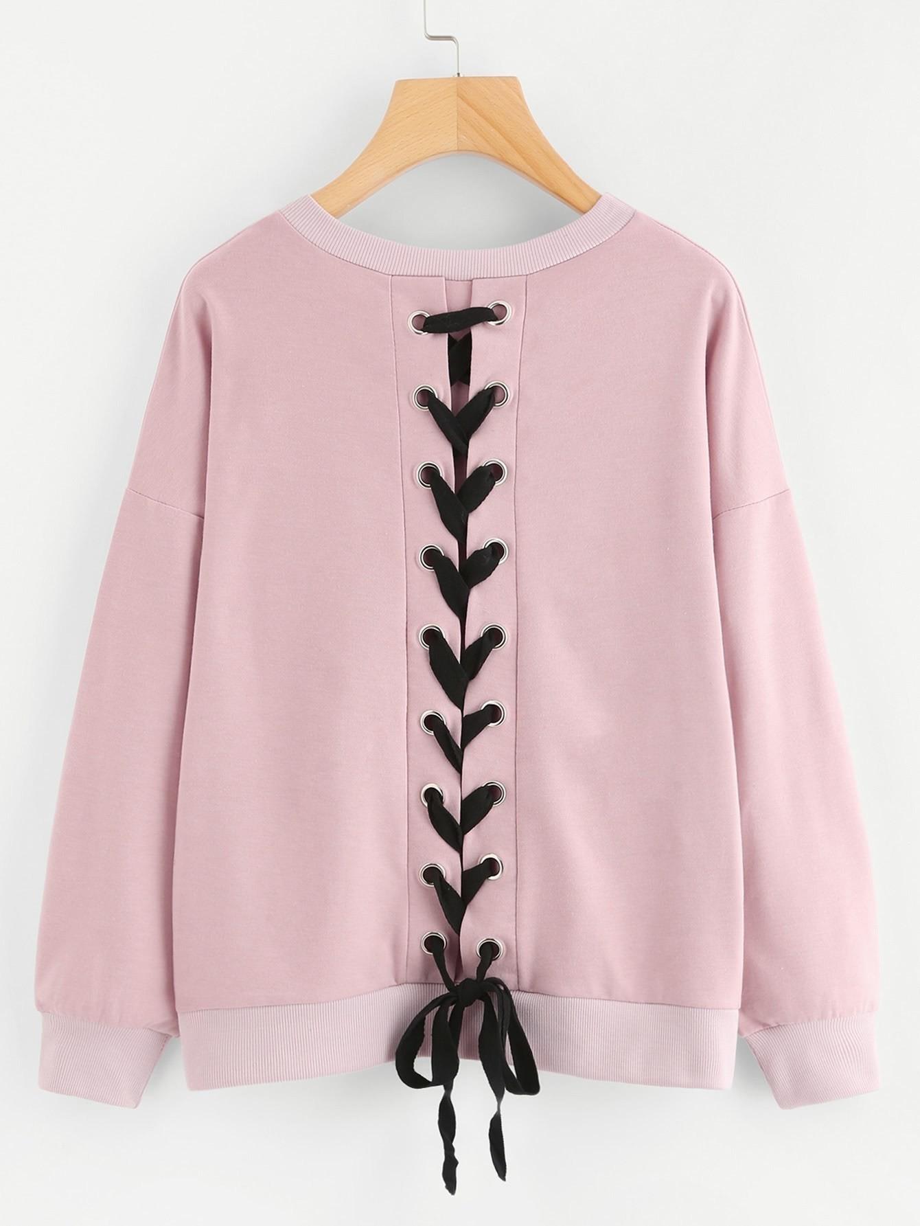 Lace Up Back Sweatshirt