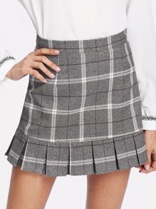 Ruffle Hem Plaid Skirt