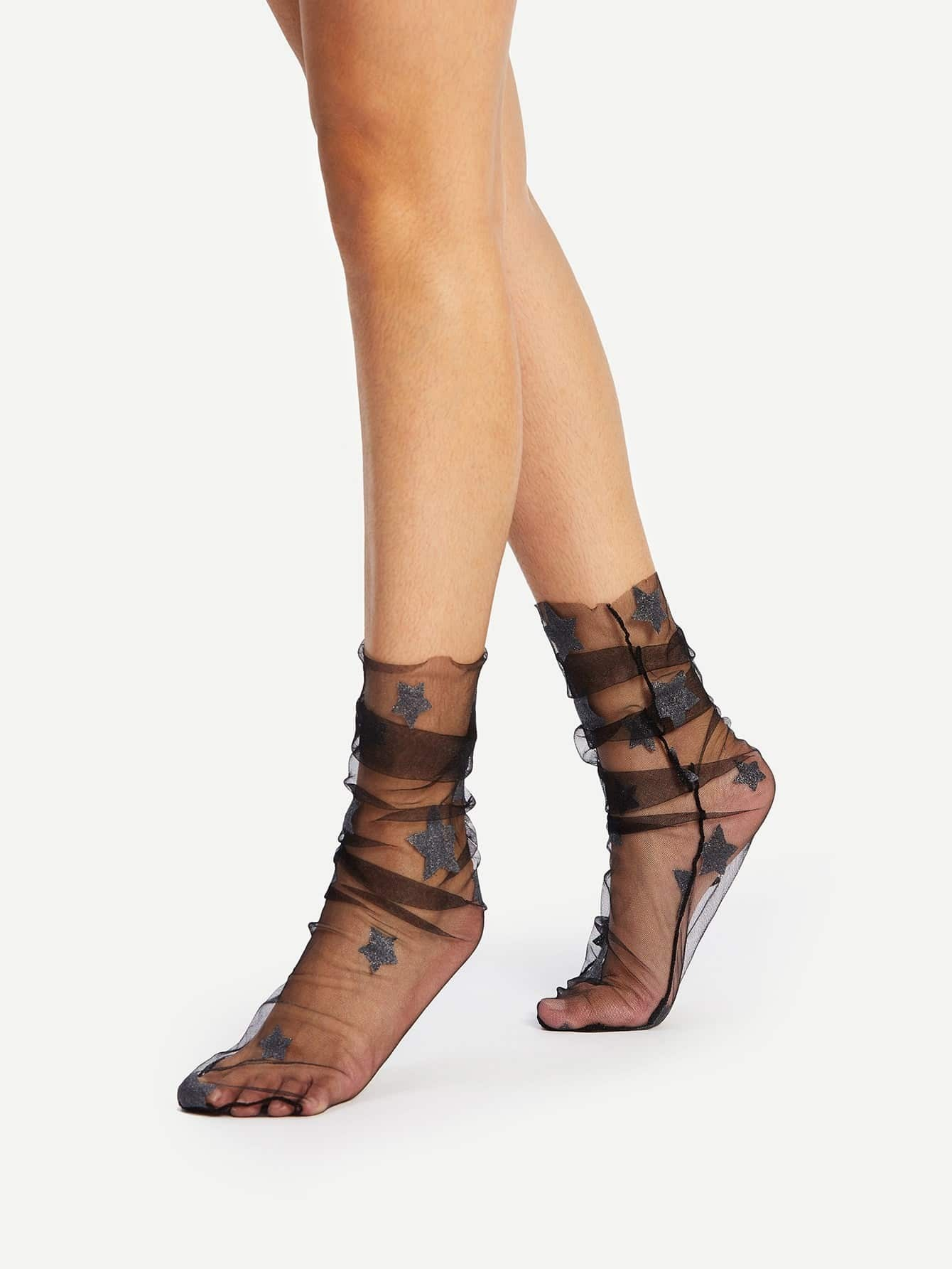 Star Pattern Mesh Slouch Socks