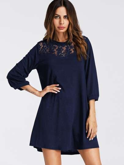 Hollow Lace Panel Dress