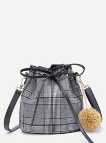 Gingham Print Bucket Bag With Pom Pom