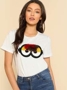 Faux Fur Cartoon Applique T-shirt