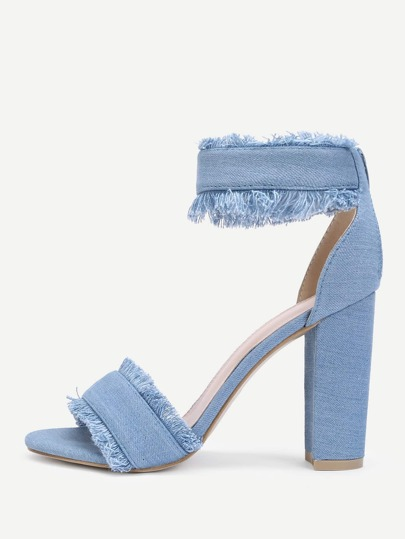 Raw Trim Block Heeled Denim Heels