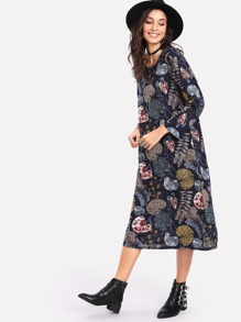 All Over Botanical Print Tunic Dress