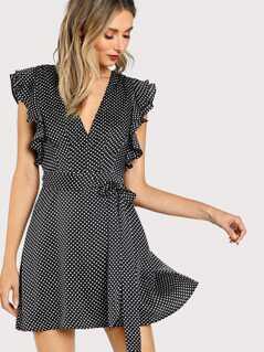 Flutter Sleeve Surplice Wrap Dress