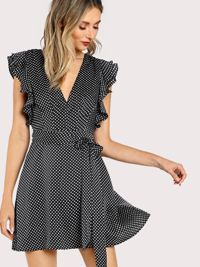 Flutter Sleeve Surplice Wrap Dress