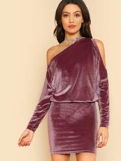 Arm Slit Velvet Dress BLUSH