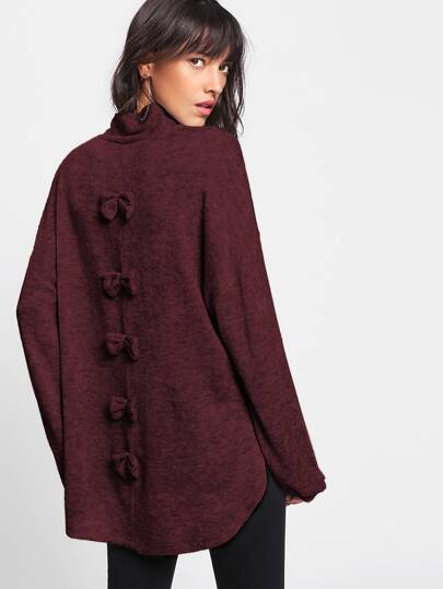 Split Side Dip Hem Bow Back Sweater