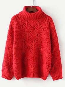 Textured Pointelle Turtleneck Sweater