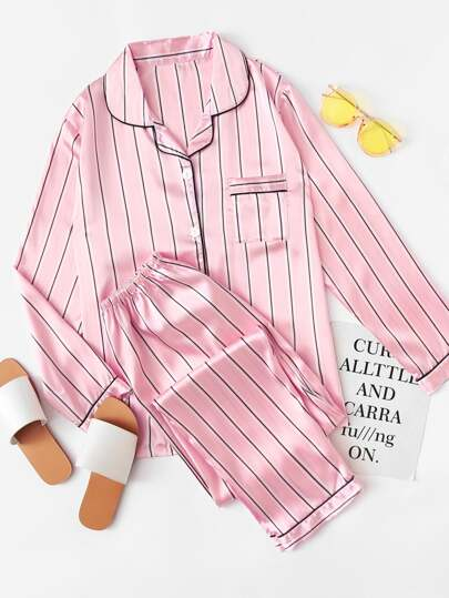 Striped Satin Long Pajama Set