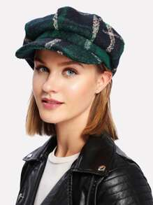 Wool Blend Plaid Newsboy Hat
