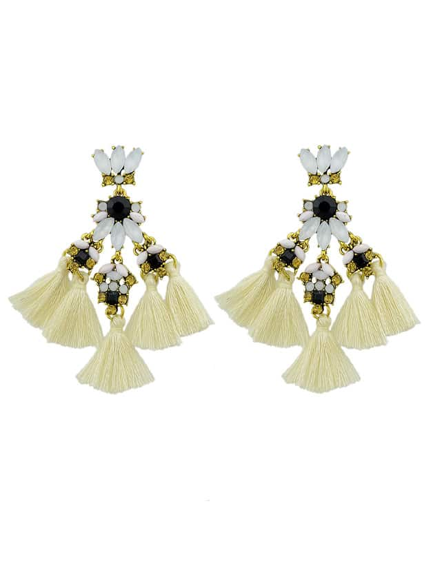 Beige Rhinestone And Colorful Tassel Big Geometric Chandeliers Earrings wrought iron chandelier island country vintage style chandeliers flush mount painting lighting fixture lamp empress chandeliers