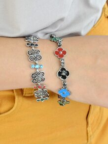 Ethnic Style Colorful Enamel Flower Bracelets