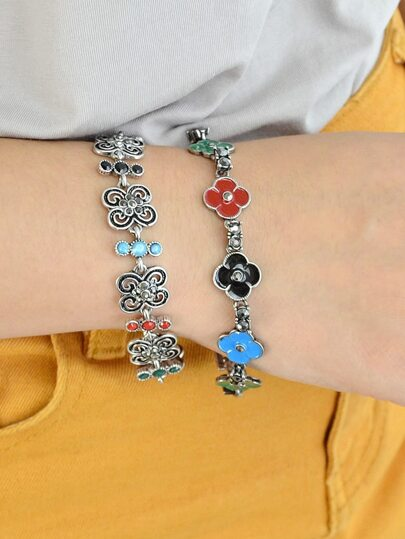 Ethnic Style Colorful Enamel Flower Bracelets