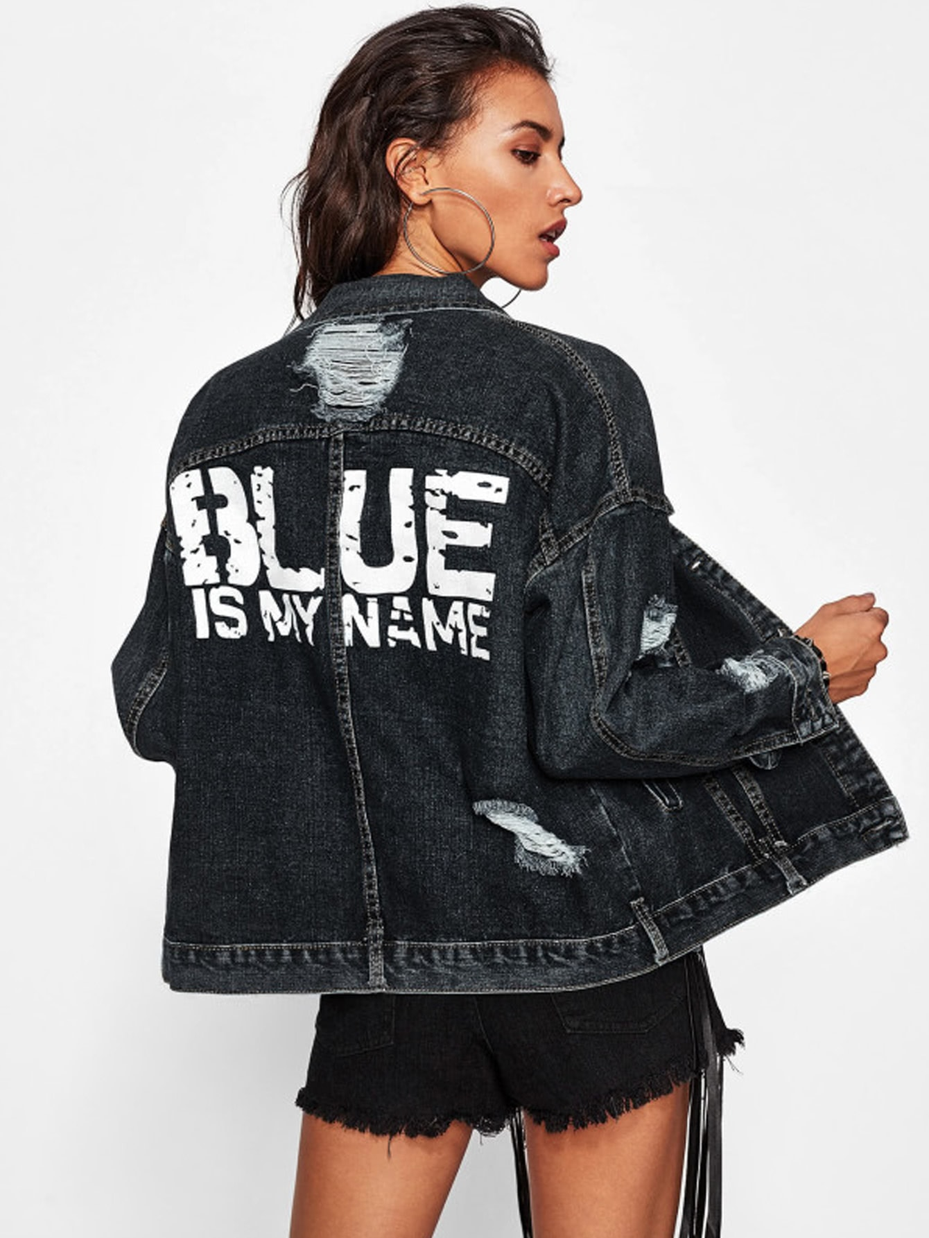 Distressed Bleach Wash Boyfriend Denim Jacket patch design distressed denim jacket