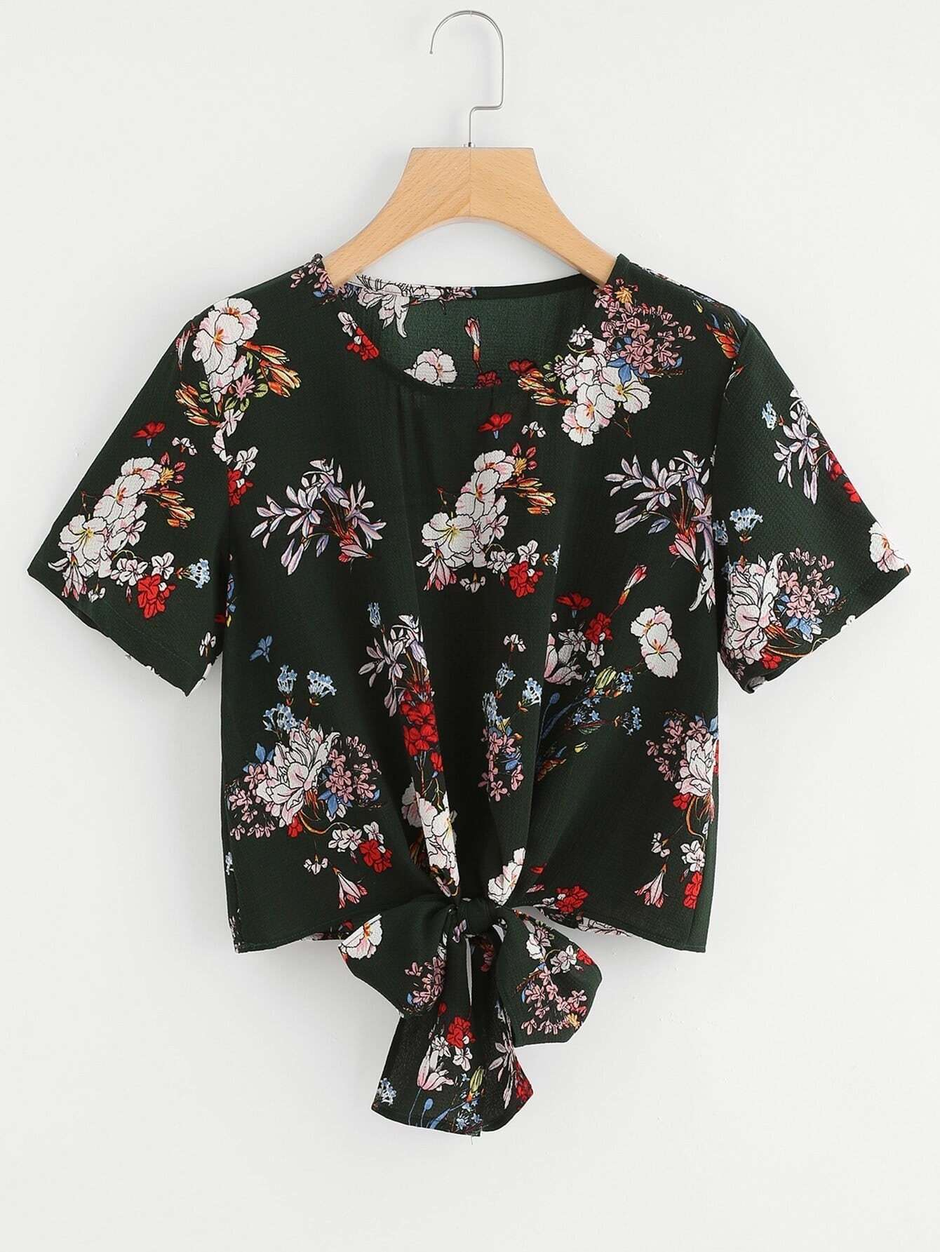Self Tie Front Floral Print Blouse black stitching floral lace self tie front long sleeves bodysuit
