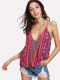 Mixed Print Surplice Cami Top