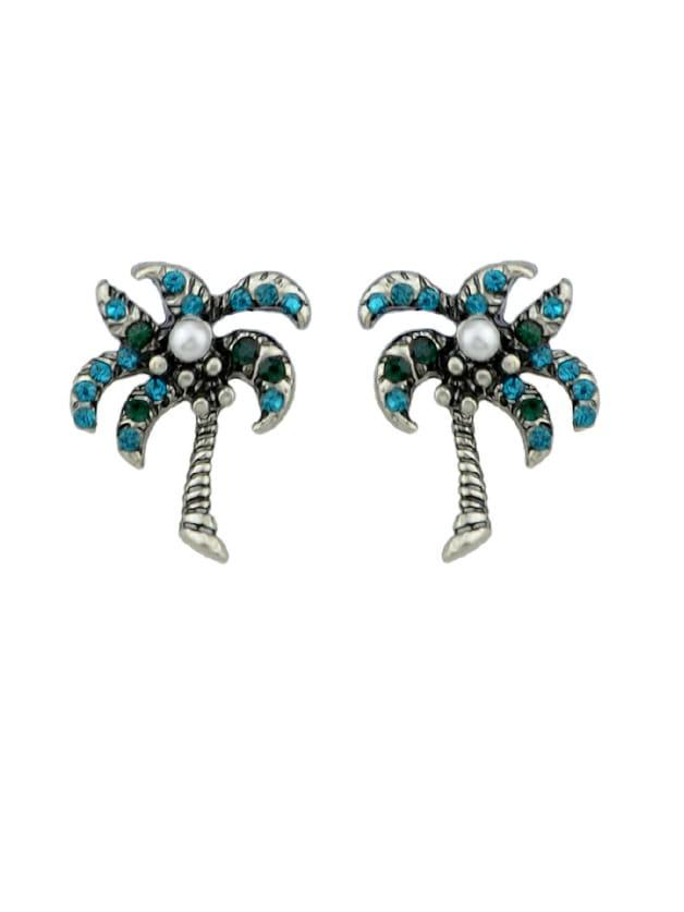 Simulated-Pearl Blue Rhinestone Coconut Tree Stud Earring rhinestone faux pearl ear cuff and stud earring