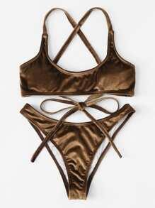 Criss Cross Self Tie Bikini Set