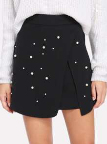 Pearl Beading Overlap Skirt
