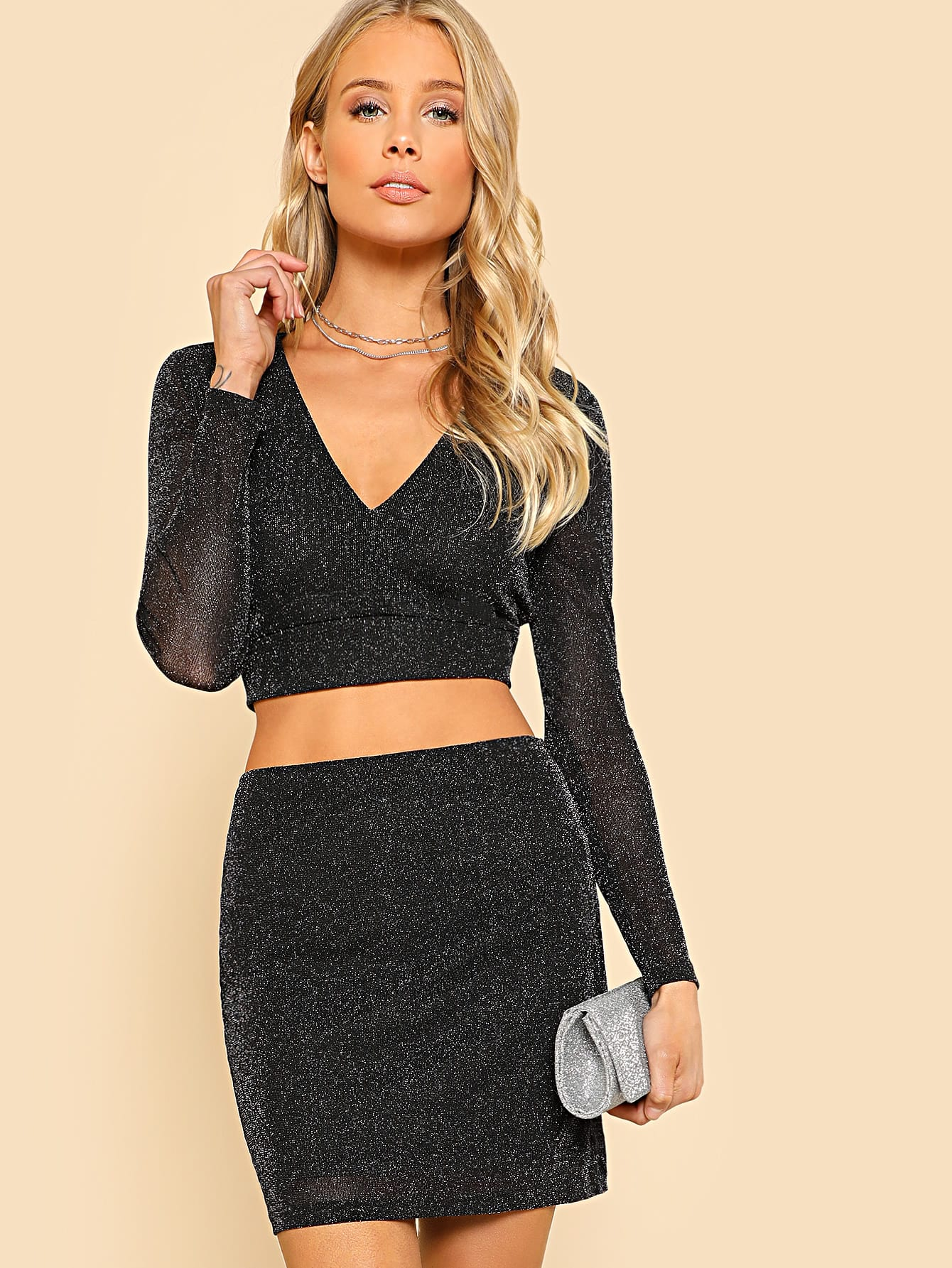 Glitter Plunging Crop Fitted Top & Skirt Set zip back plaid crop top and skirt set