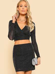 Glitter Plunging Crop Fitted Top & Skirt Set