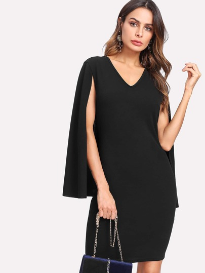 Cape Sleeve Tailored Dress