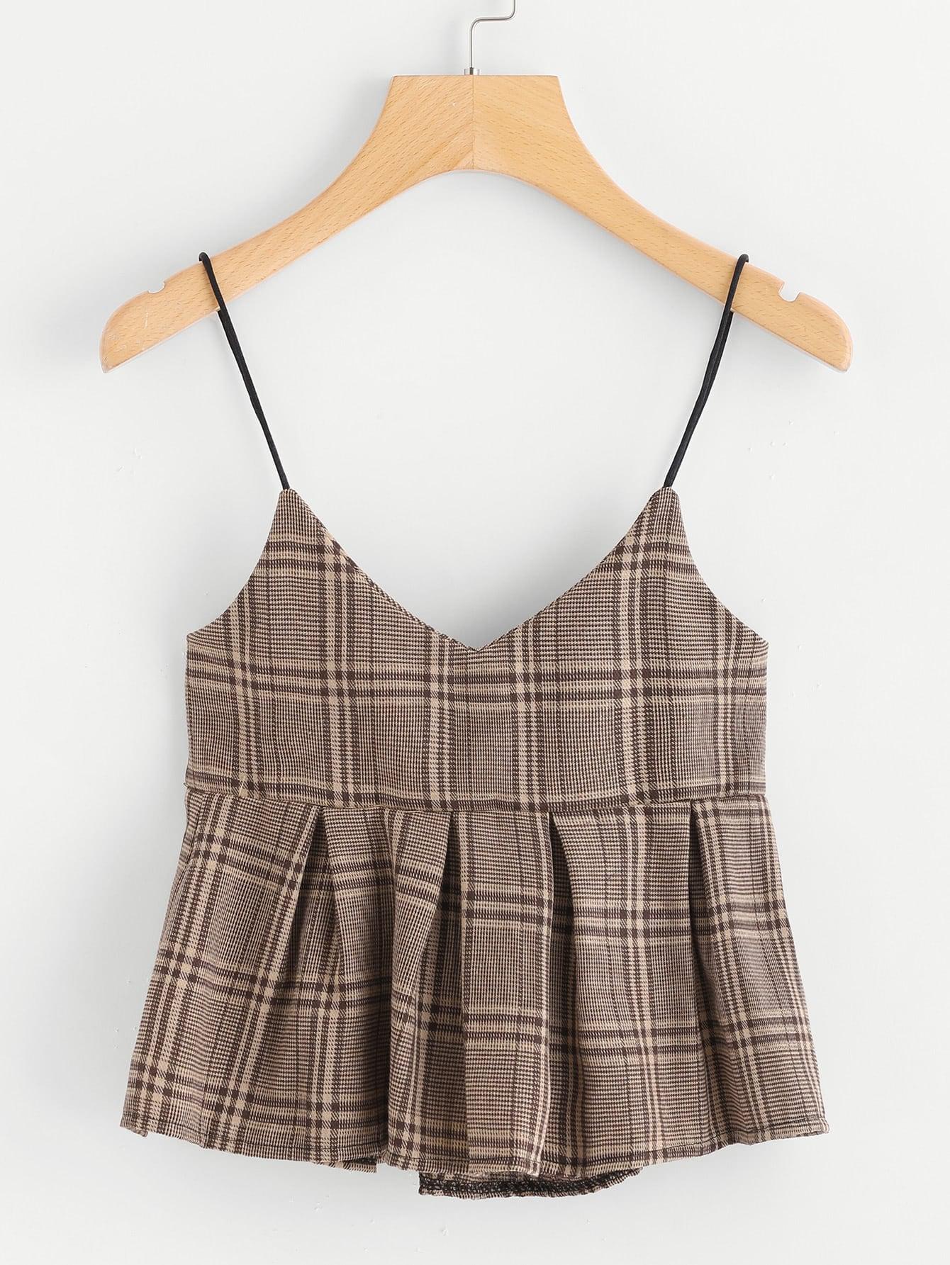 Wales Check Pep Hem Cami Top split front wales check skirt