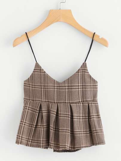 Wales Check Pep Hem Cami Top