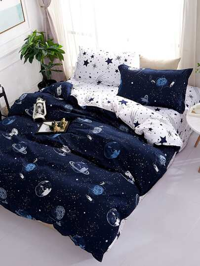 1.5m 4Pcs Galaxy Print Duvet Cover Set