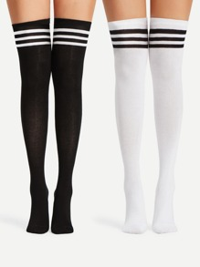 Striped Over The Knee Socks 2pairs