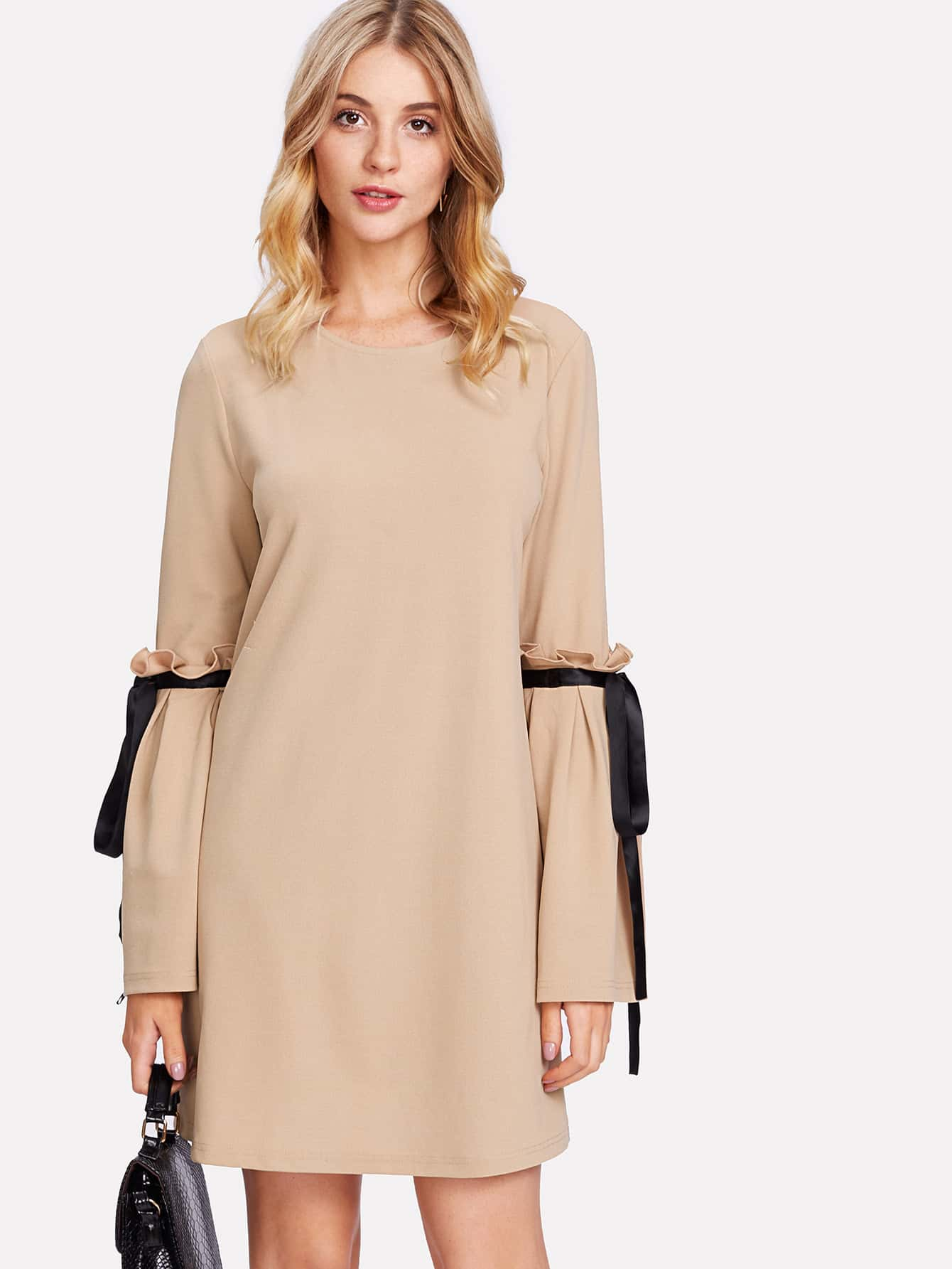 Frill Detail Bell Sleeve Tunic Dress frill layered pearl detail sweatshirt dress
