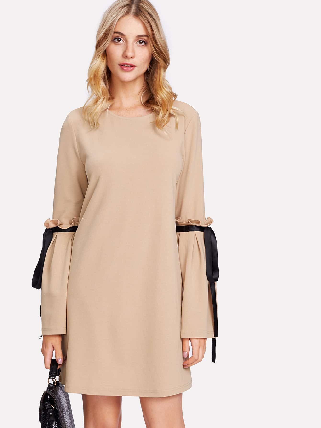 Frill Detail Bell Sleeve Tunic Dress pearl detail frill off shoulder dress