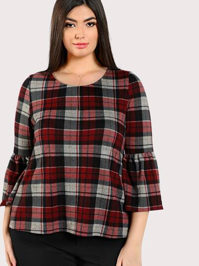 Trumpet Sleeve Plaid Top