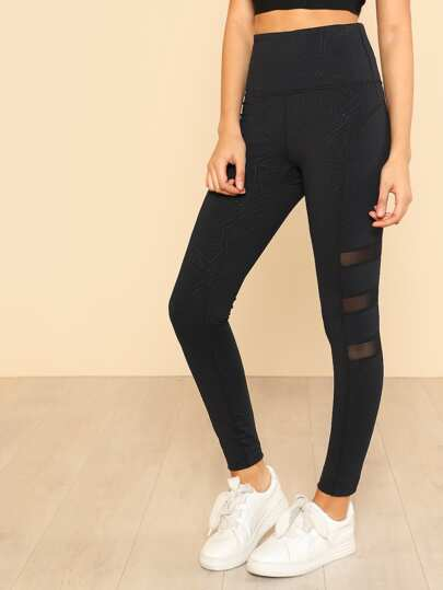 Geo High Waist Mesh Stripe Leggings BLACK