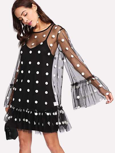Exaggerate Flounce Sleeve Polka Mesh Overlay Dress