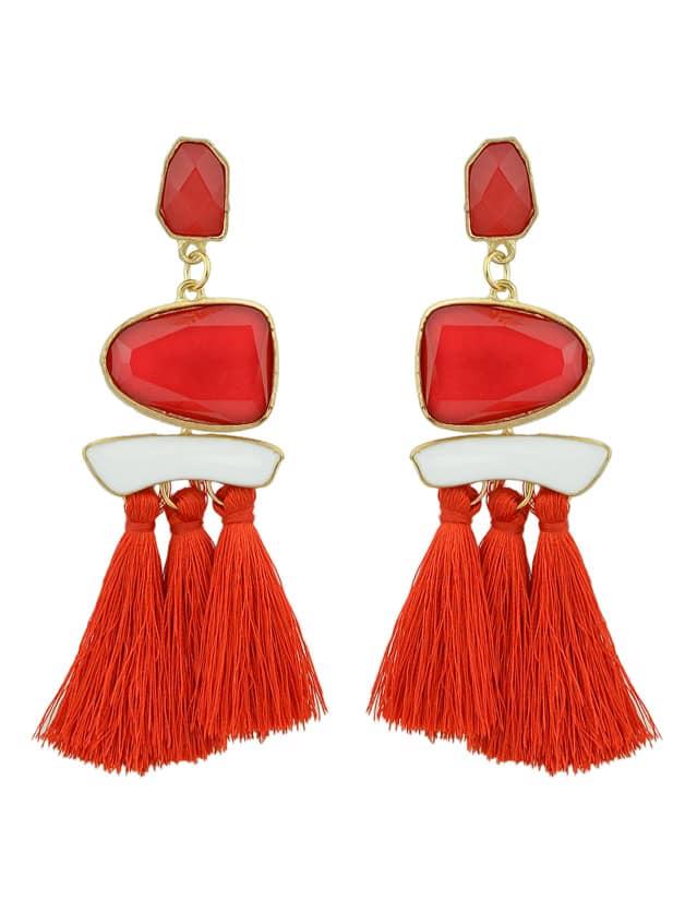 Red Bohemian Style Ethnic Statement Big Tassel Drop Earrings ethnic hollow out statement drop earrings