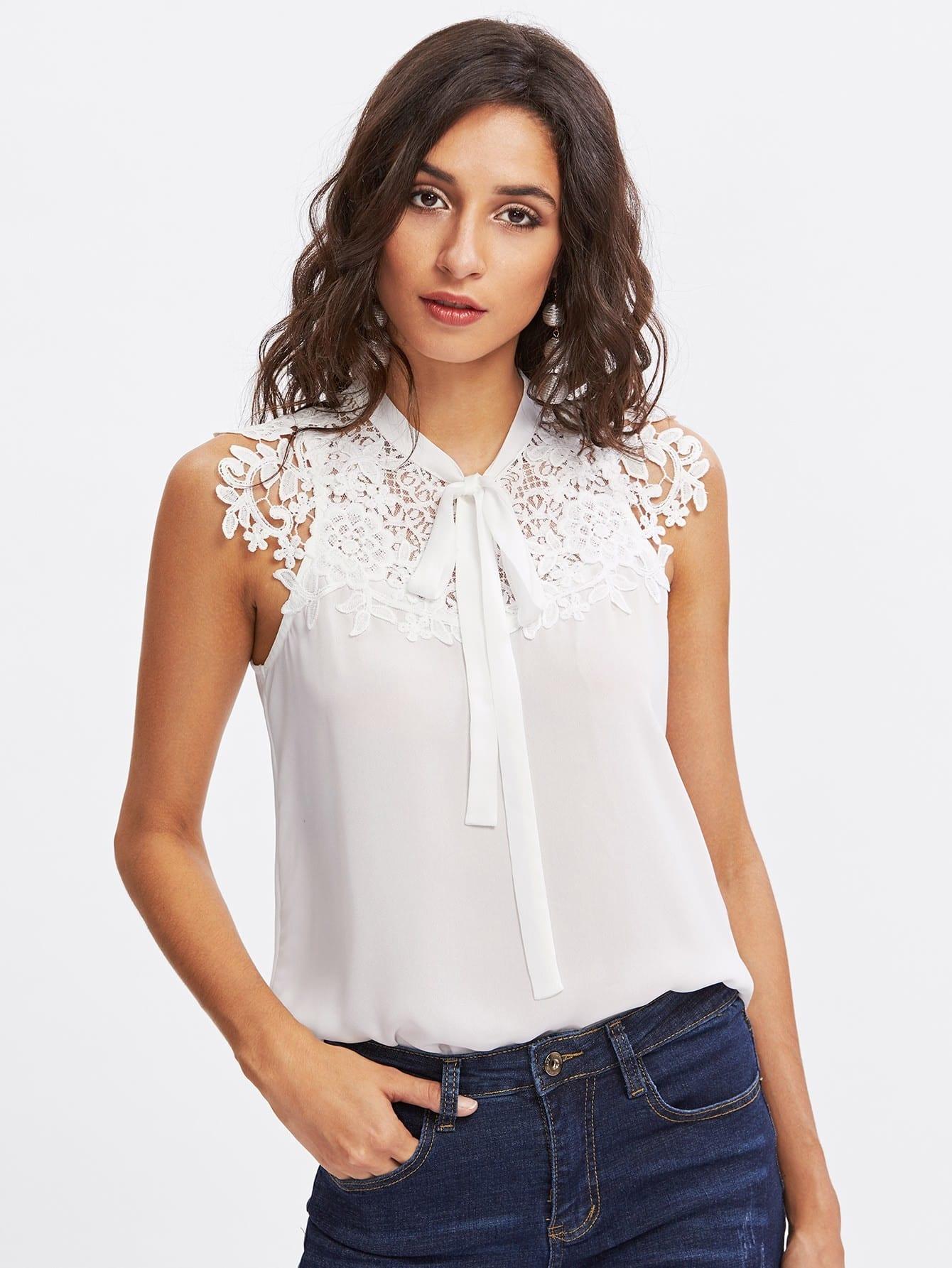 Guipure Lace Applique Tied Neck Top blouse170925703